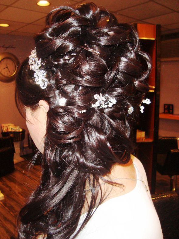 My wedding hair - ceremony then pin-