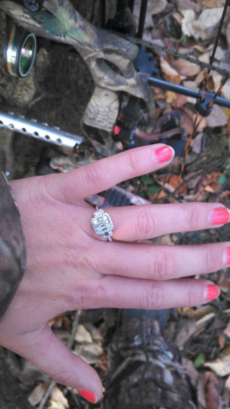 I said yes! Right under my treestand :  wedding engagement hunting proposal Ring Woods
