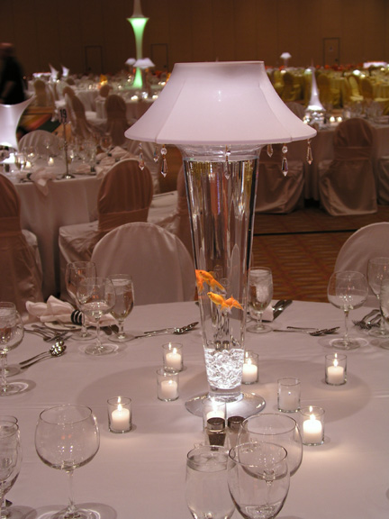 Spandex Lighted Lampshade with Crystal Centerpieces for Rent wedding