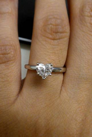 Newly Engaged with Heart Shape Ring