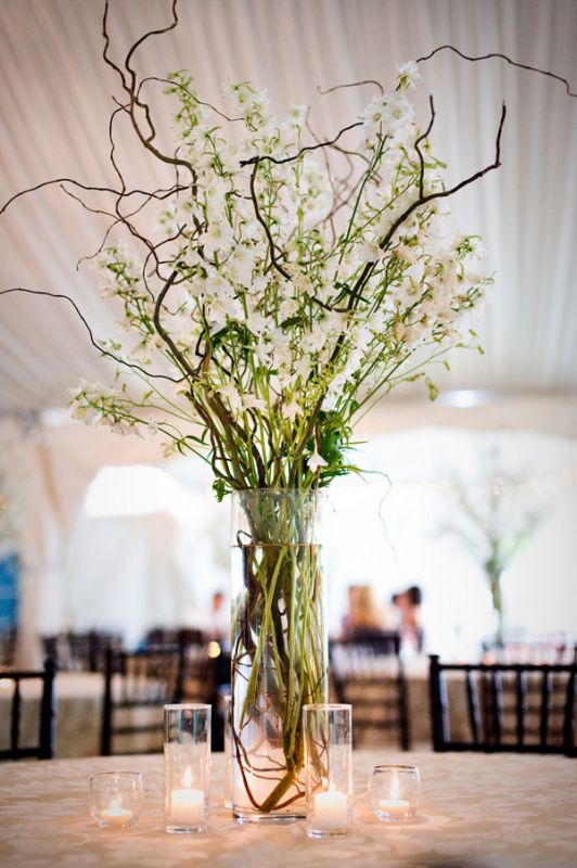 Ideas Please Centerpieces Branches And Flowers And Candles Hangtable