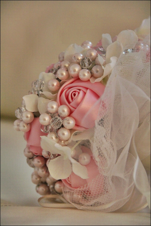 My DIY pearl and crystal bouquet