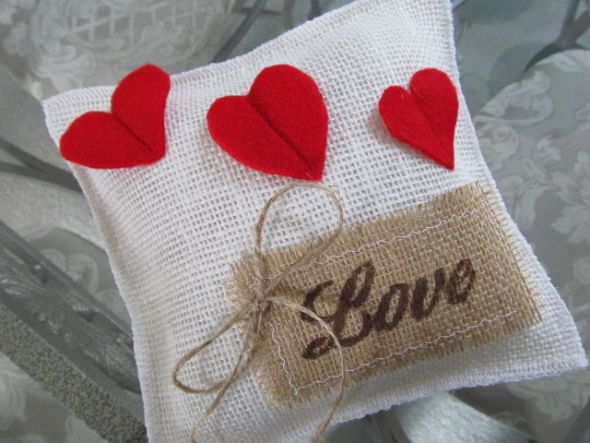 Off White Burlap Hearts and Love Ring Bearer Pillow
