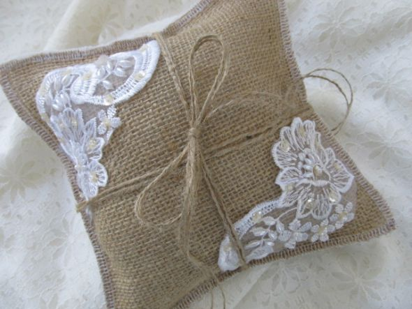 Burlap Ring Bearer Pillow :  wedding natural burlap with lace sequin amp pearl applique Neutral 001