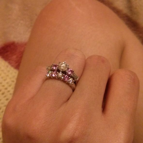 My pink sapphirediamond wedding ring set
