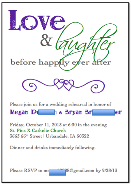 Wedding rehearsal dinner invitations templates rehearsal dinner invitations stopboris Choice Image