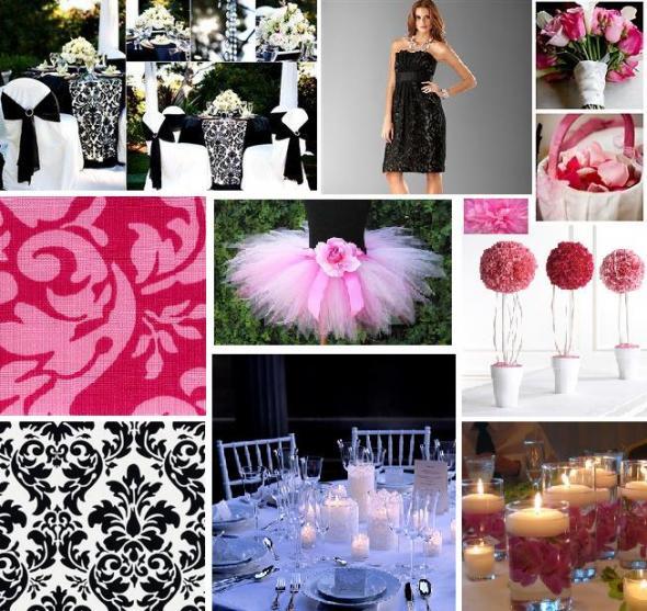 Black White Damask and Pinks wedding Inspiration Board