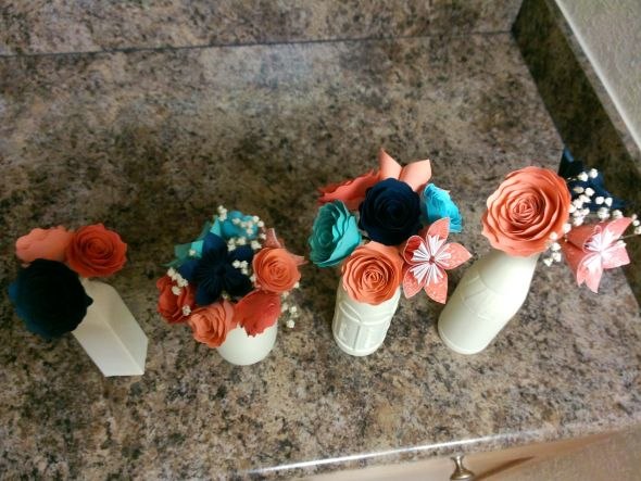 paper flower centerpieces. with or without Baby's breath?