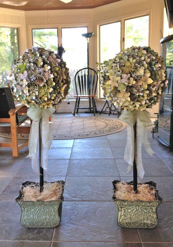 Large Origami Flower Topiaries | Weddingbee Photo Gallery