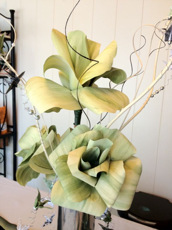 Painted Paper Flowers Origami Crane Centerpieces
