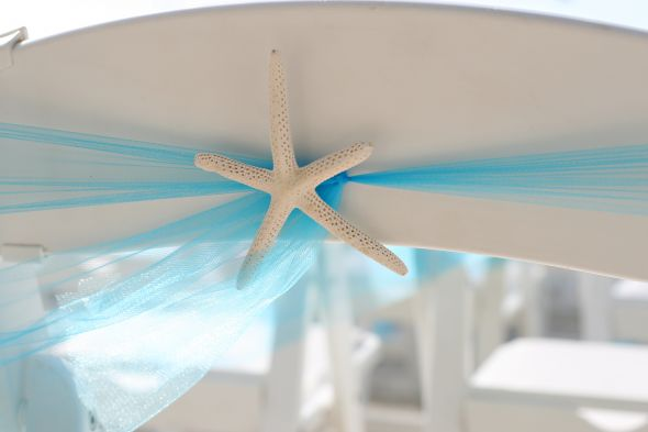 blue and beachy decor wedding table linens beach centerpiec Hand Made