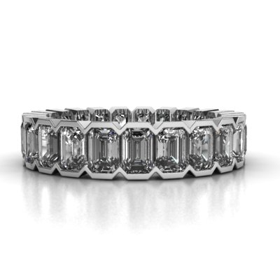 band bands eternity diamond gem emerald cut platinum