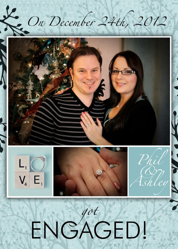 Ashley and Phil's DIY engagement photo and announcement :  wedding announcement diy engagement photos ring teal Engagement Announcement 5x7