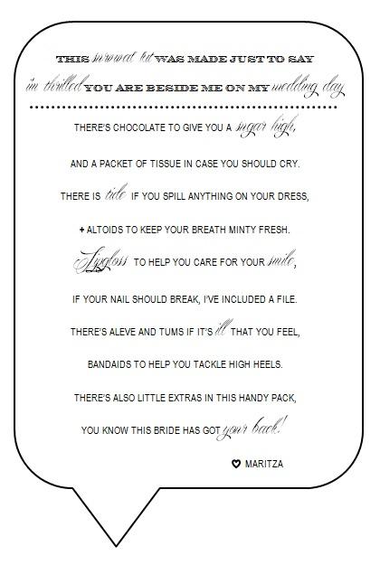 Bridesmaid Survival Kit Poem/