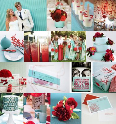 wedding Red And Aqua red and royal blue