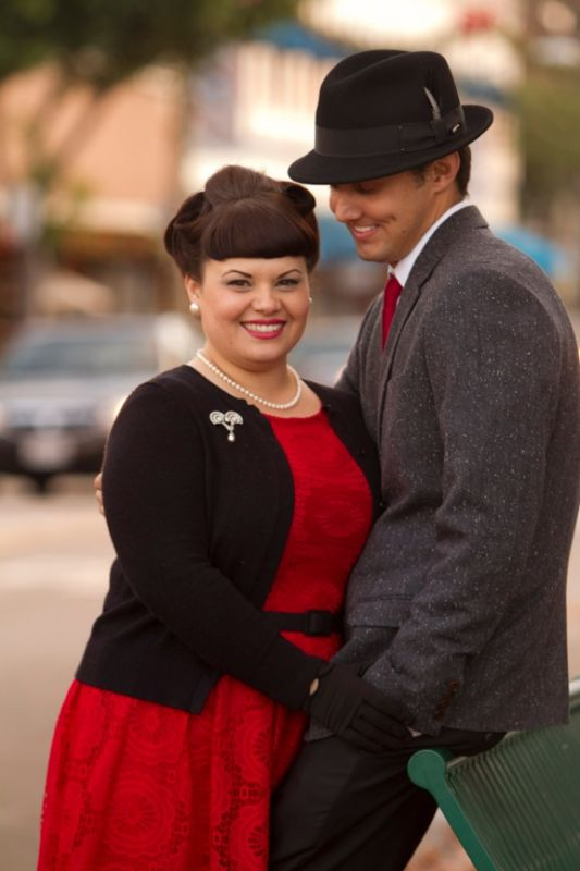 Our retro romance :  wedding black engagement engagement photo mad men red retro white IMG 4318