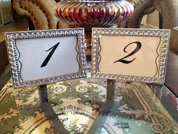My bling DIY table number frames!