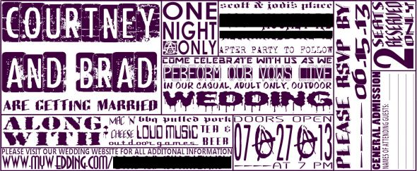 Our badass DIY concert ticket invites (: