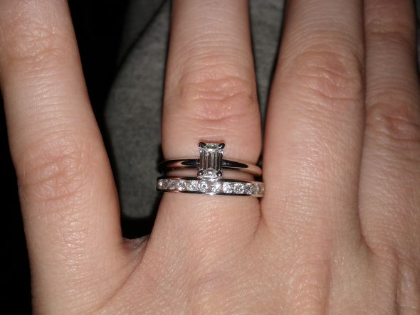 New wedding band with emerald Ering