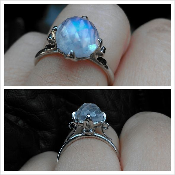 Rose Cut Blue Rainbow Moonstone Enga
