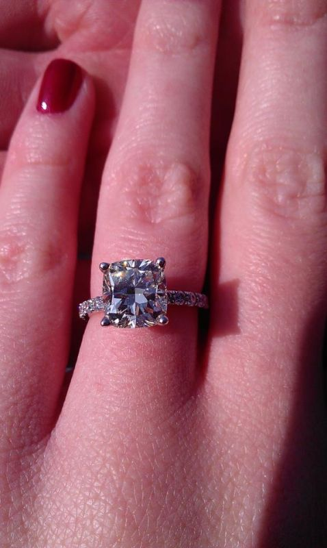 My beautiful 2+ carat cushion cut en