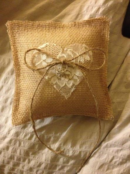 Rustic/shabby chic ring pillow