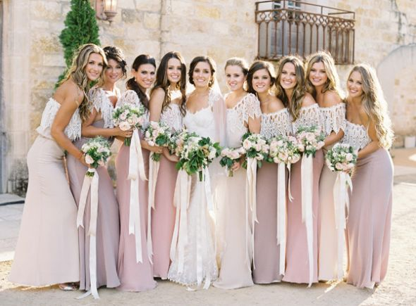 Pink and Ivory Bridesmaid Dresses