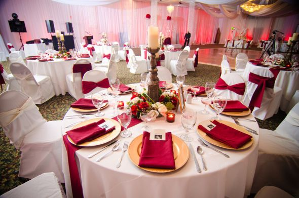 Combo 4: White Chair Covers And Red Sashes, White Table Cloths.