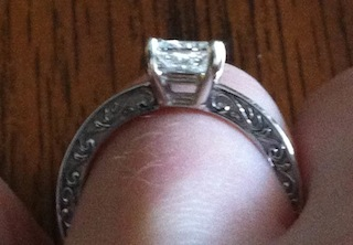 LOVE my engagement ring Delicate Antique Scroll Ring from