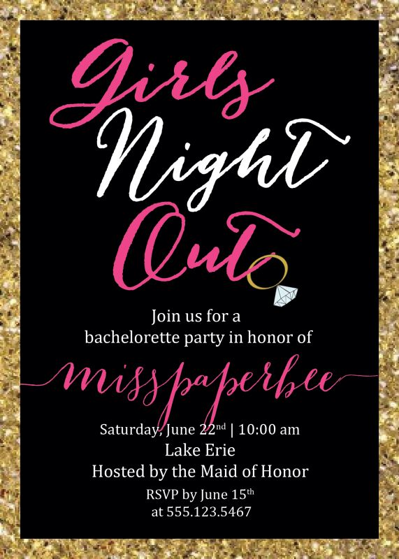 Girls Night Out Bachelorette Invitations