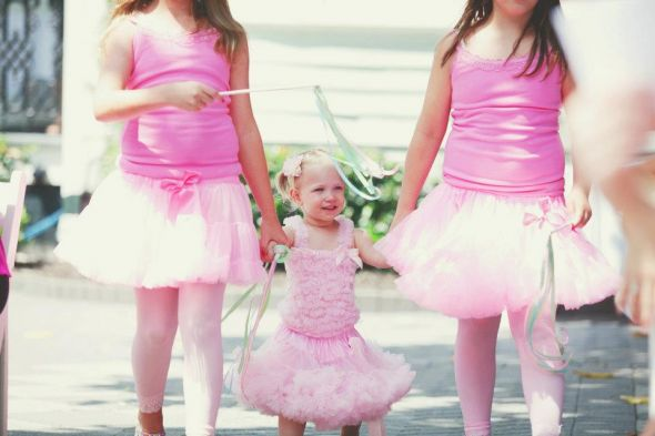 Flower Girl Pettidress and Tutus :  wedding flower girl pettidress pettiskirt pettitop pink ribbon wand tutu 553676 10100420658384182 1592035439 N