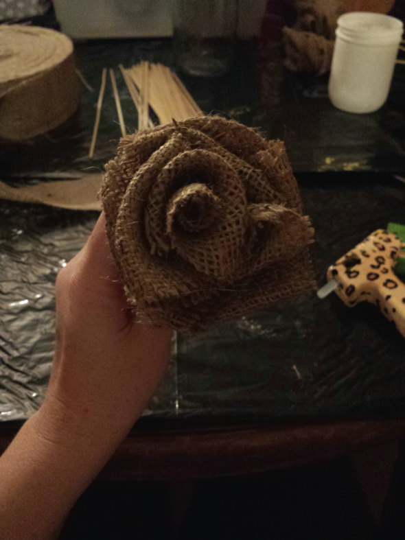 Burlap flowers on wooden sticks
