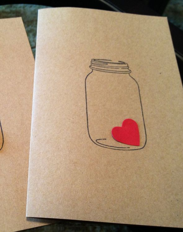 Mason jar with heart programs