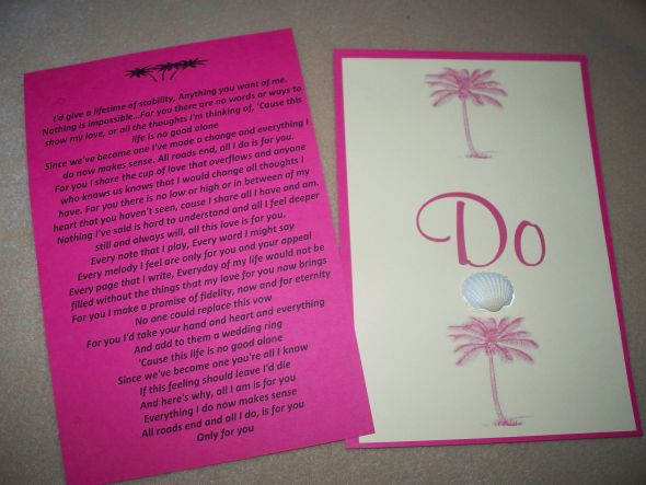 Beach Theme Wedding Vows : Beach theme vow cards weddingbee photo gallery
