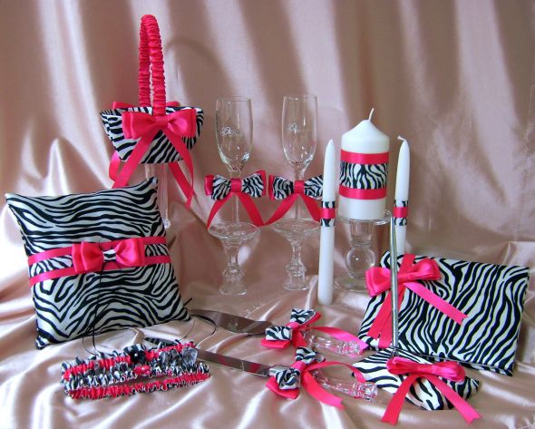 Zebra Print and Hot Pink Wedding Accessories, 14pc Ensemble :  wedding zebra print and hot pink wedding flower girl basket ring pillow guest book garter set unity ca SV108585