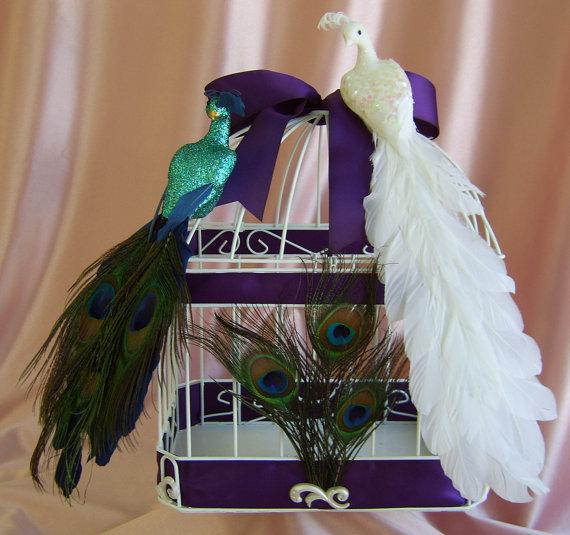 Birdcage Peacock Card Box Deep Purple Wedding Color wedding purple white