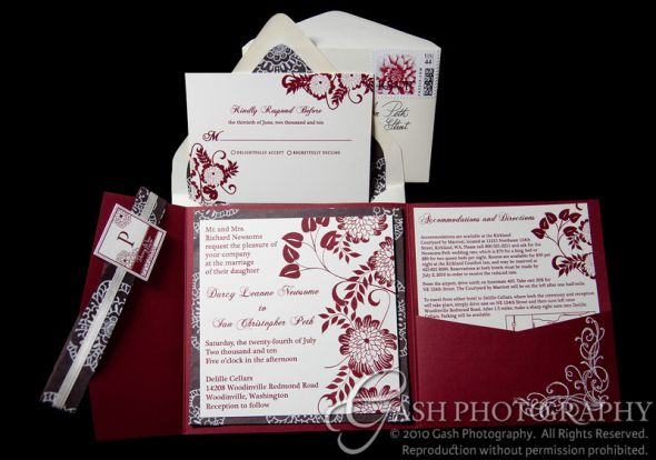 Wine Dahlia Embossed DIY Pocketfold Invitations