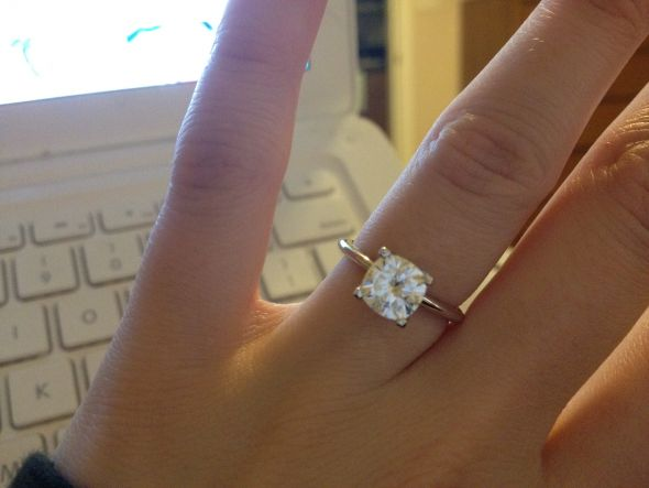 My beautiful baby (cushion cut moissy solitaire) is here!