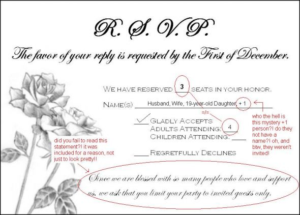 Wedding Rsvp Invitation Wording: Need (wording) Help Addressing Guests Who Rsvp'd For Extra
