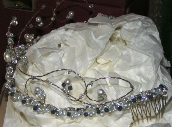 blue wedding bride tiara silver and blue wedding dresses
