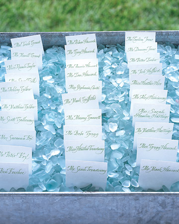 wedding blue sapphire decor reception Seating Cards Blue Glass