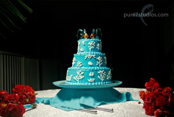 Beachy Cake wedding beach cake tropical fish toppers Cake