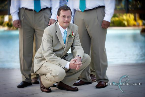My husband wore a kacki suit for our beach wedding We got it on sale