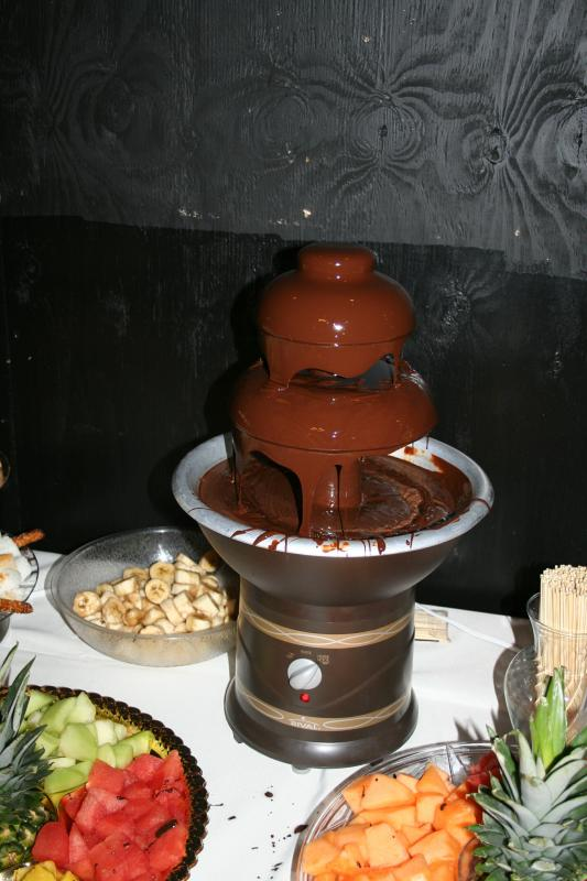 Heavy hors d 39oeuvres buffet from BJ 39s and chocolate fountain wedding