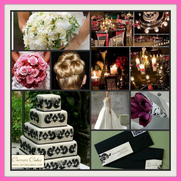 Damask and Pink wedding damask inspiration board Picnik Collage