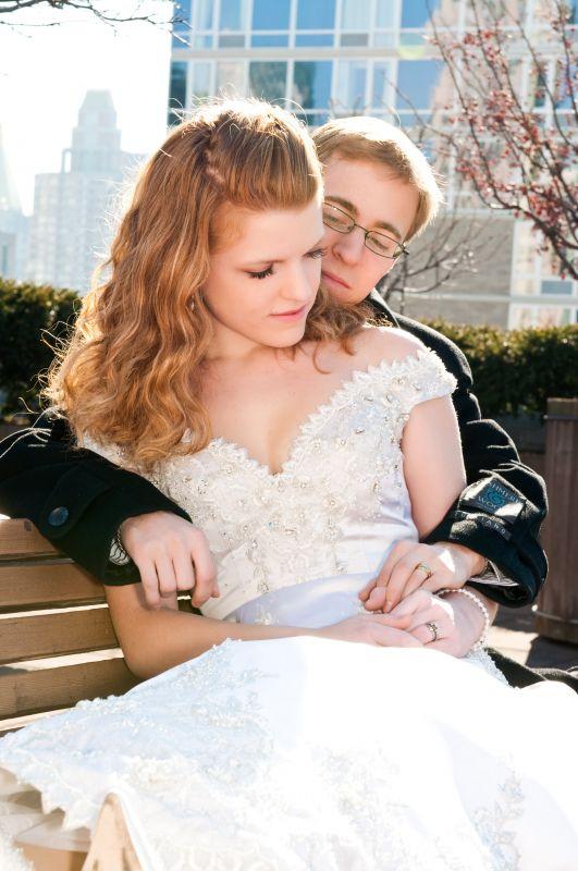 redhead in wedding dress