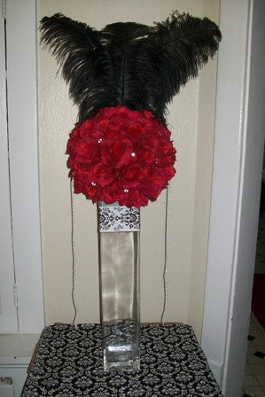 centerpiece with feathers wedding New Centerpiece 001
