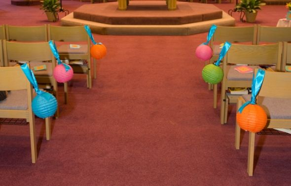 Pink Green Blue Orange Decor Items wedding lanterns pew ribbon