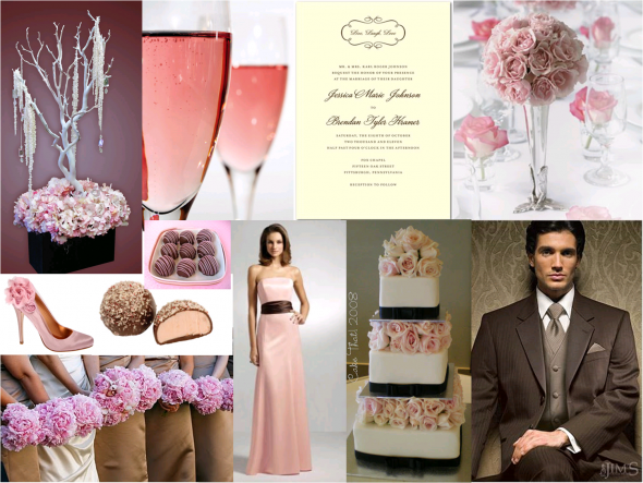pale pink and brown winter wedding wedding Blush And Chocolate