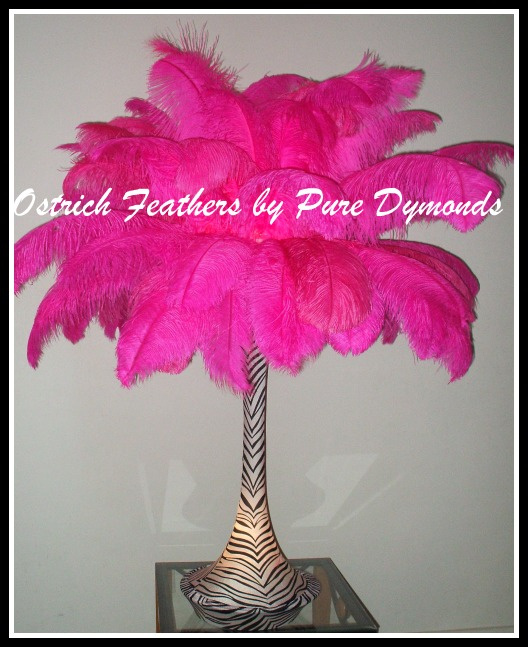 White ostrich feather centerpieces instead of flowers wedding ostrich